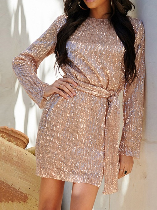 Above Knee Long Sleeve Sequins Round Neck Women's Dress