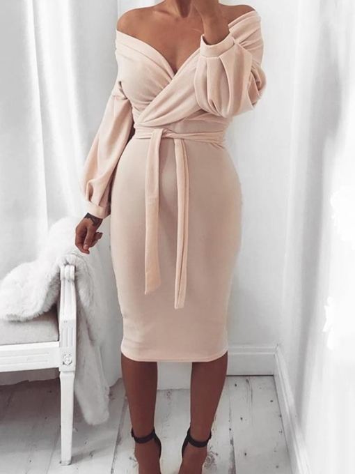 Lace-Up V-Neck Long Sleeve Mid-Calf Plain Women's Dress