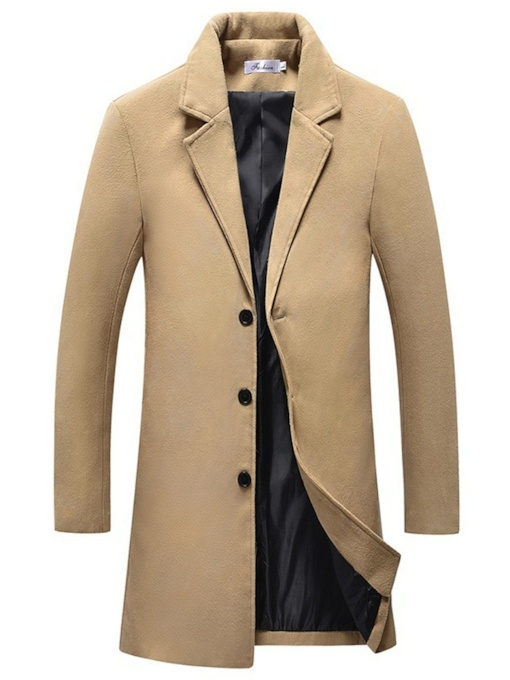 Mid-Length Notched Lapel Plain Men's Coat