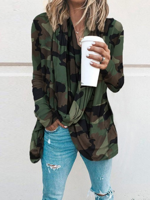 Camouflage Mid-Length Long Sleeve Loose Women's T-Shirt