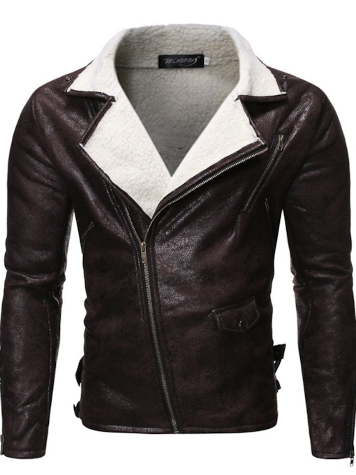 Plain Standard Lapel Zipper Men's Leather Jacket