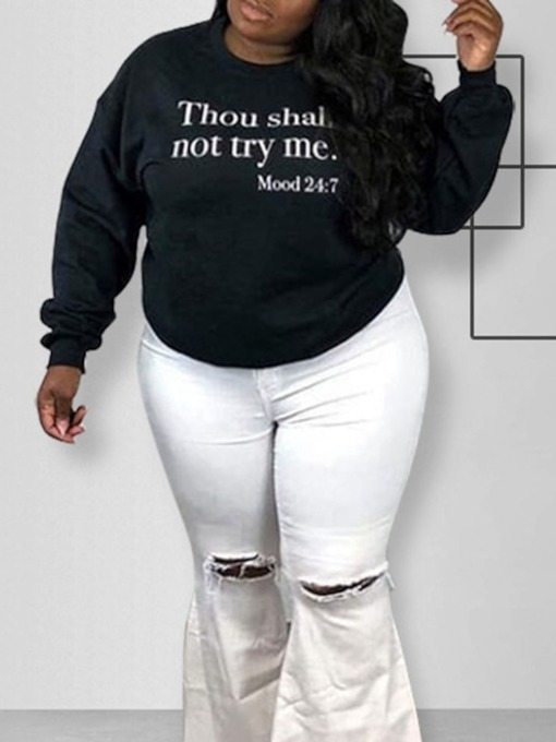Plus Size Regular Letter Women's Hoodie