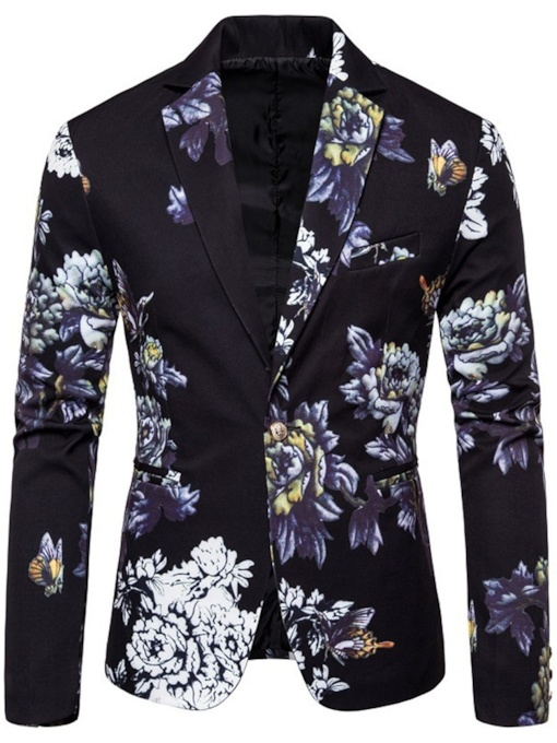 Floral Print Fashion Slim One Button Men's leisure Suit
