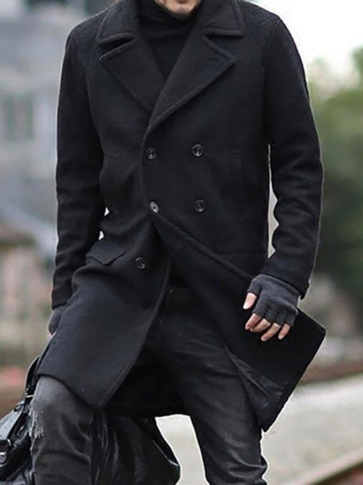 Notched Lapel Plain Mid-Length Men's Coat