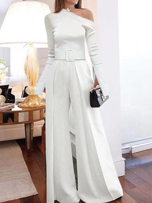 Plain Elegant Full Length Slim Women's Jumpsuit