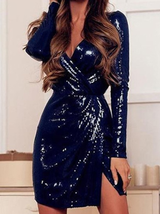 Above Knee V-Neck Long Sleeve Sequins Regular Women's Dress
