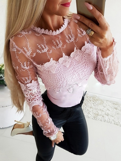 Plain Hollow Sweet Long Sleeve Women's Blouse