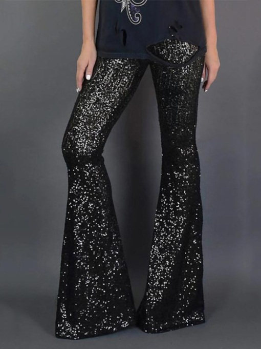 Sequins Slim Bellbottoms Women's Casual Pants