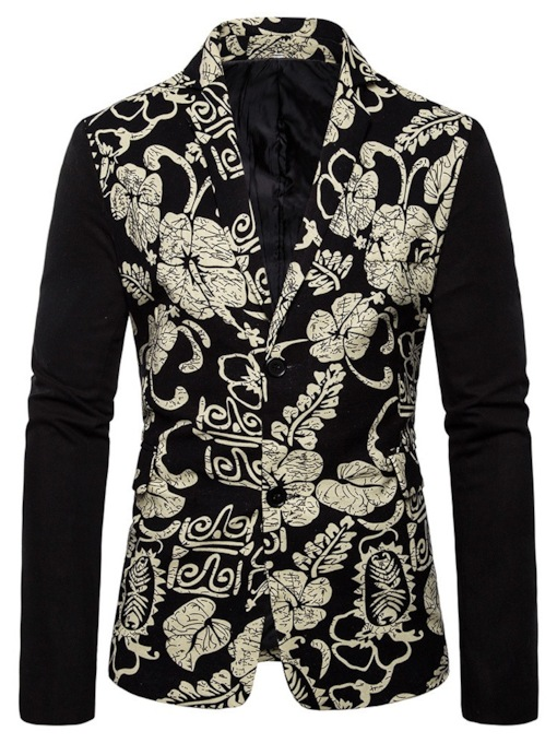 Single-Breasted Plant Slim Print Men's leisure Suit