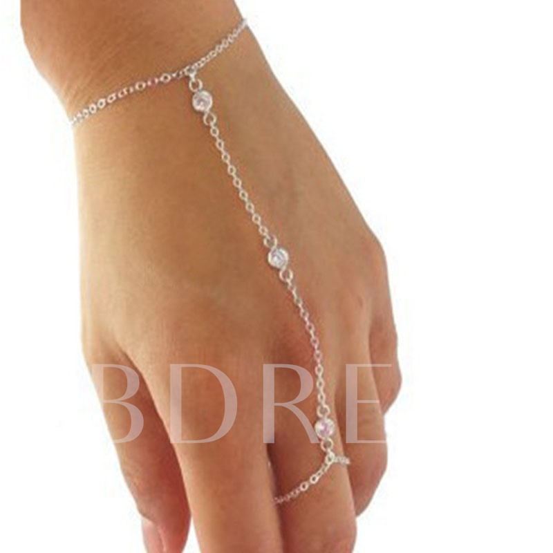 Crystal Inlaid Sweet Female Ring Bracelet