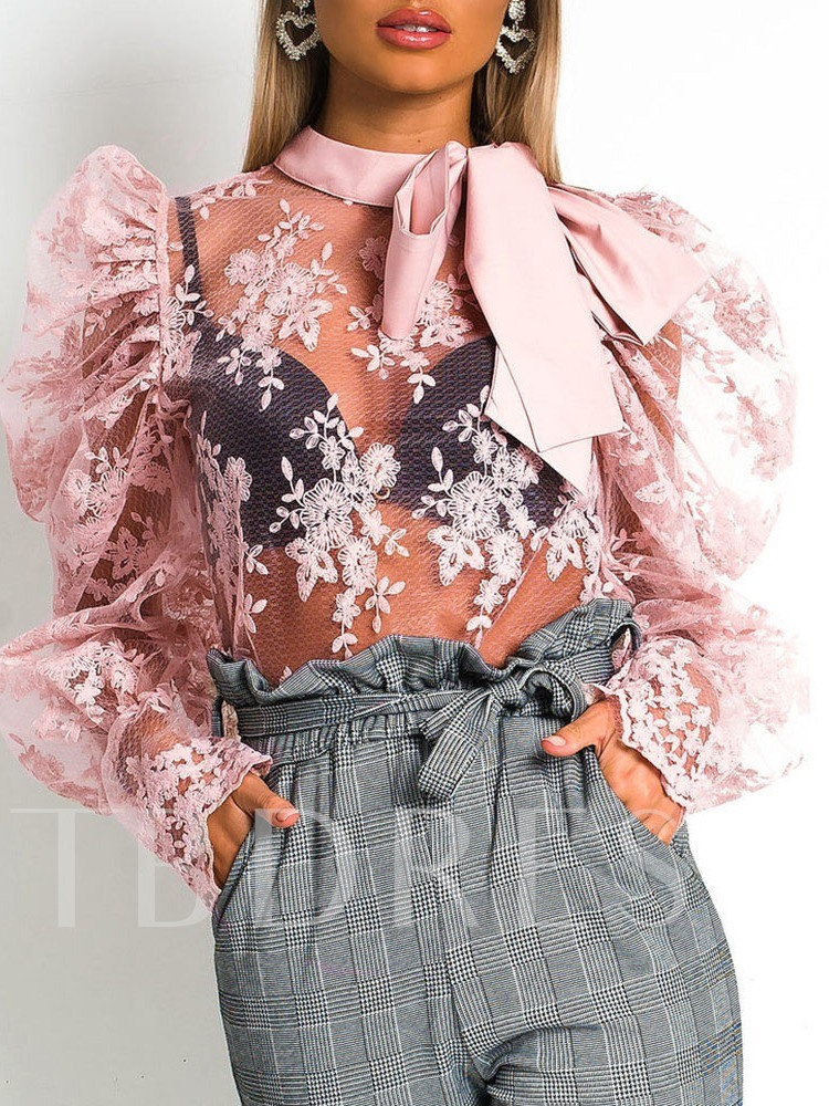 Hollow Lace Up Ladylike Bow Knot Standard Women's Blouse