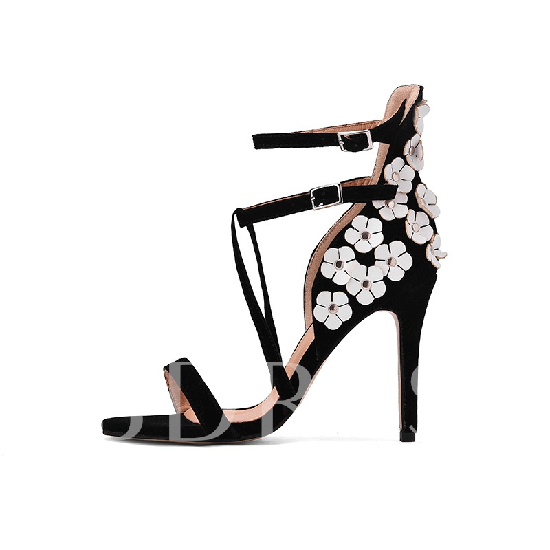 Open Toe Buckle Floral Customized Sandals