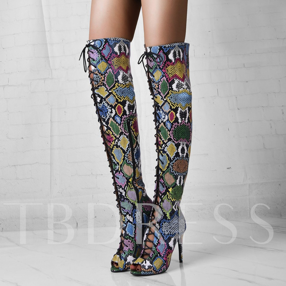 Side Zipper Peep Toe Sexy Customized Knee High Boots