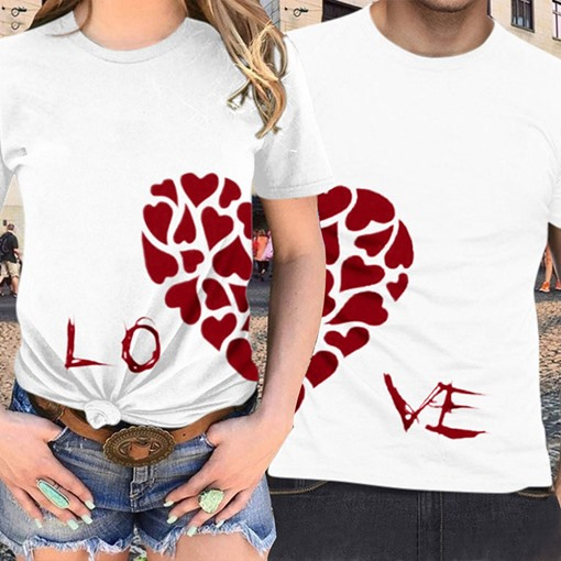 Simple Prints Slim Couples Couple's T-Shirt