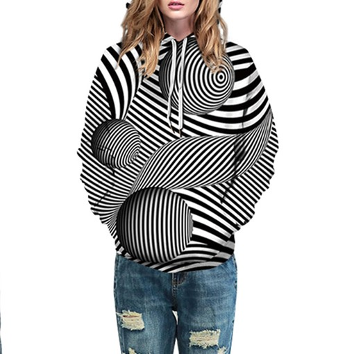 Casual Loose Stripe Ball Couple's Hoodie