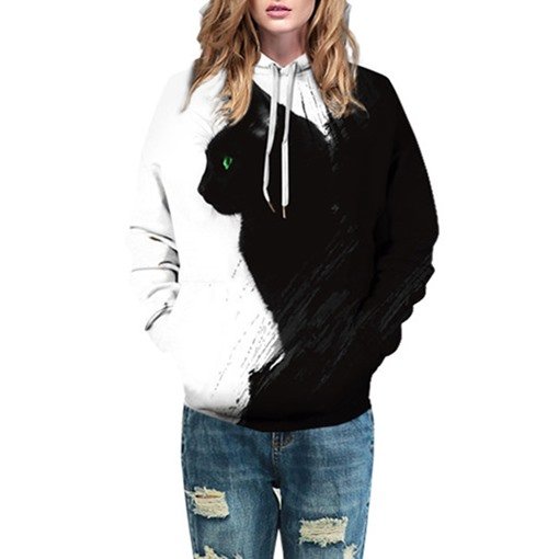 Casual Loose Animal Cat Hooded Couple's Hoodie