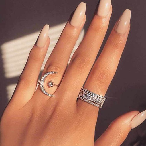 Diamante Romantic Moon Shape Wedding Rings