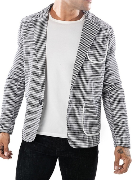 Casual Houndstooth Pants One Button Pocket Men's Sport Suit