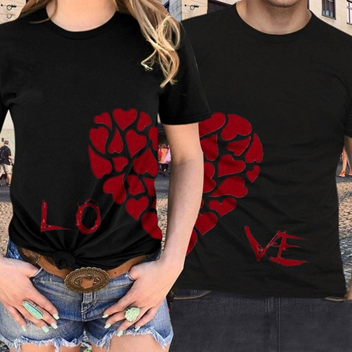 Simple Prints Slim Letter Heart Couple's T-Shirt