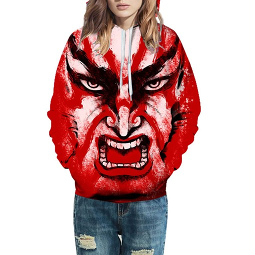 Hooded Casual Loose 3D Terror Couple's Hoodie