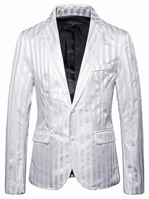 Slim Stripe Single-Breasted Notched Lapel Men's leisure Suit