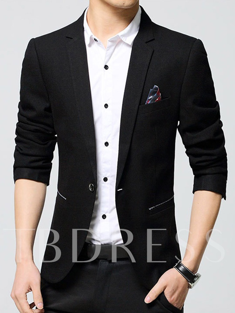 Slim Notched Lapel Plain One Button Men's leisure Suit