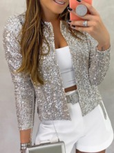Nine Points Sleeve Straight Sequins Standard Women's Jacket
