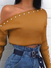 Slim Oblique Collar Women's Sweater