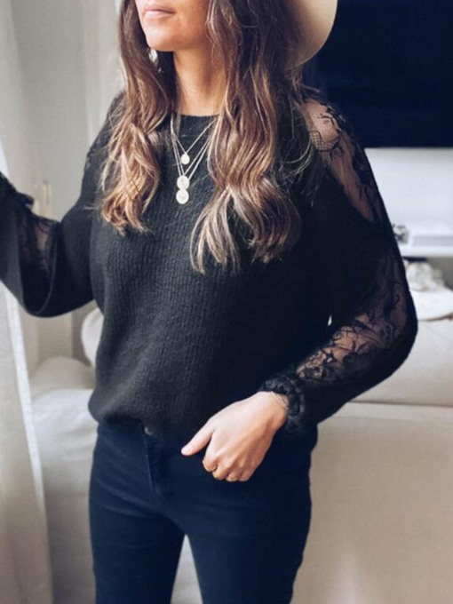 Patchwork Round Neck Lace Sleeve Women's Sweater