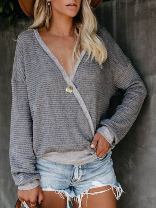 Regular Patchwork Plain Loose Women's Sweater