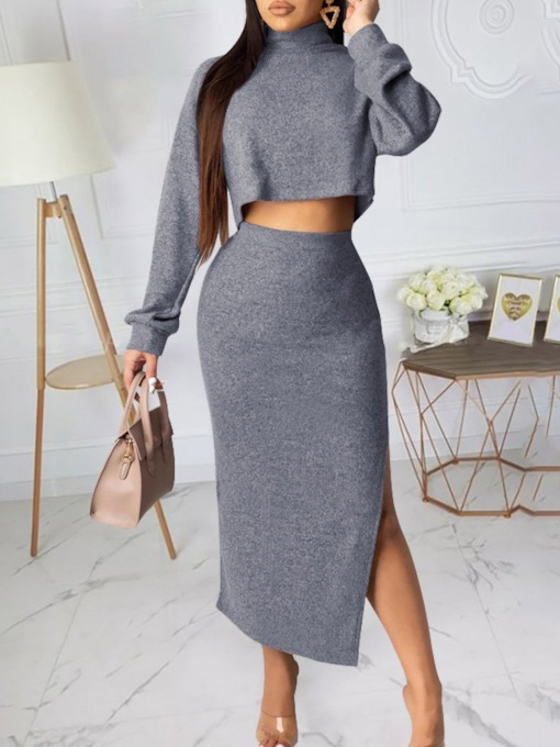 Skirt Casual Plain Women's Two Piece Sets