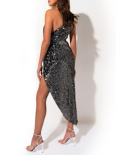 Sequins Oblique Collar Ankle-Length Sleeveless Party/Cocktail Women's Dress