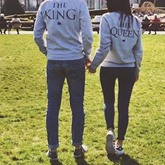 Letter Simple Casual Loose Couple's Hoodie
