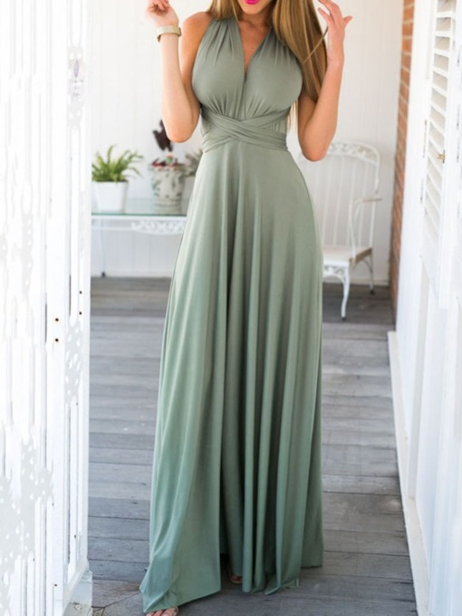 Backless Floor-Length Sleeveless Plain Women's Dress