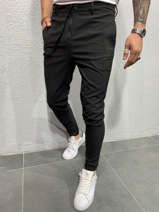 Plain Pencil Pants Low Waist Men's Casual Pants