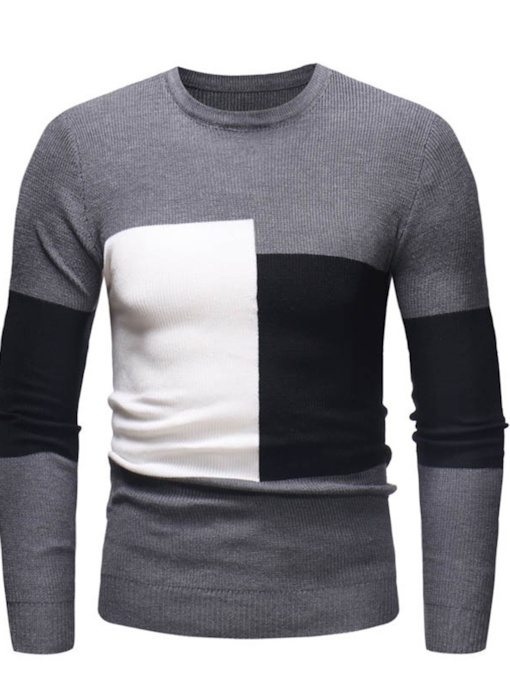 Color Block Standard Round Neck Patchwork Men's Sweater