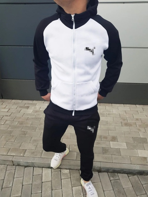 Color Block Patchwork Hoodie Sports Men's Outfit