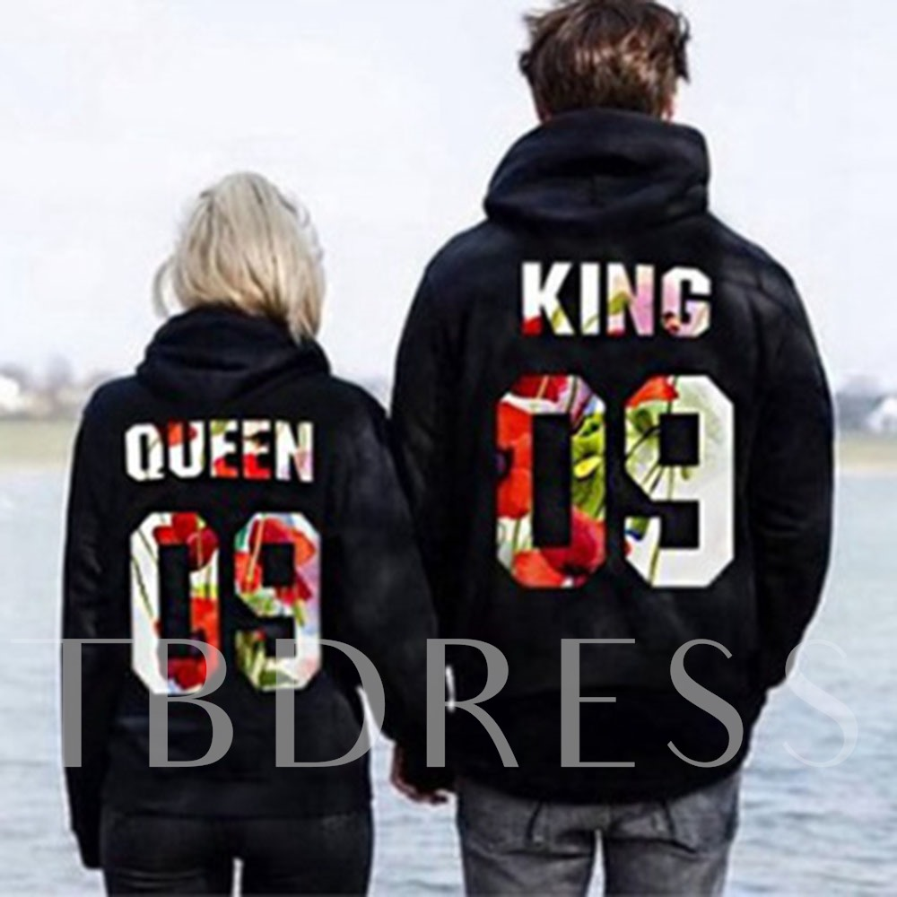 Sport Casual Loose Number Couple's Hoodie