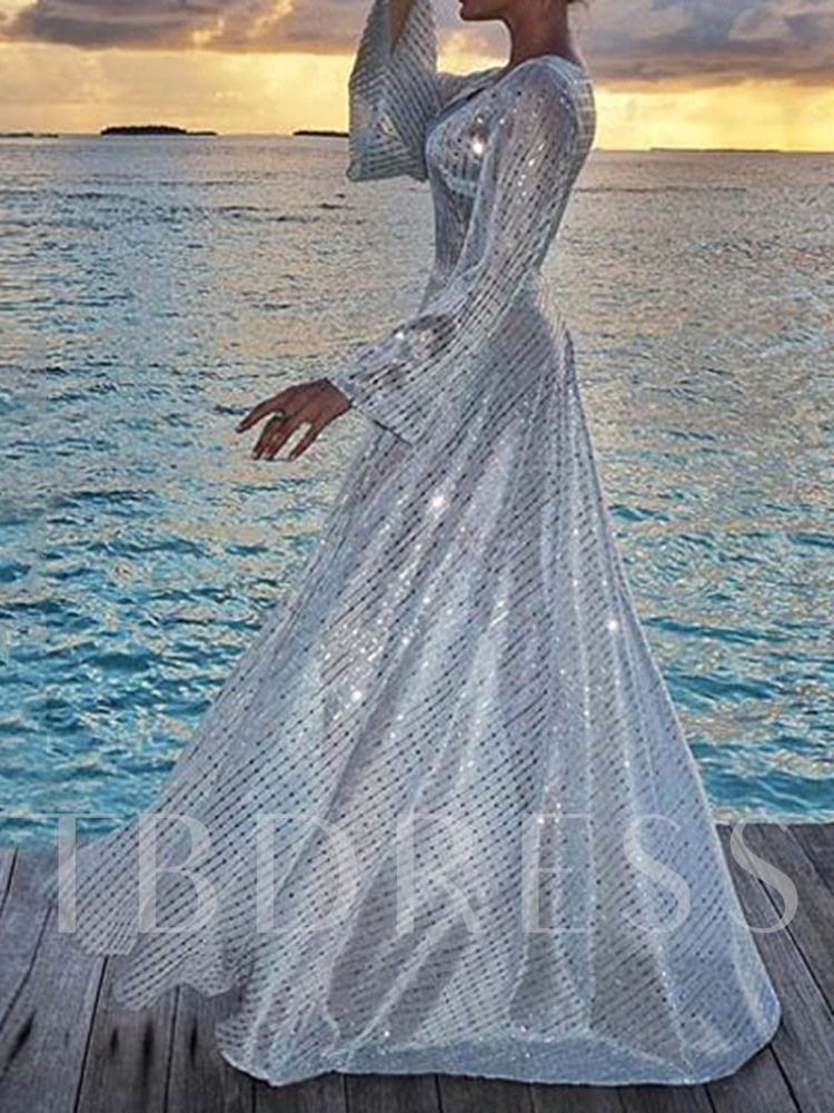 Sequins Long Sleeve V-Neck Floor-Length Mid Waist Women's Dress