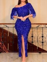 Ankle-Length Three-Quarter Sleeve Sequins Pullover Women's Dress