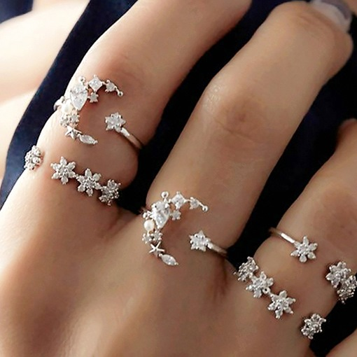 Sweet Diamante Holiday Rings Set