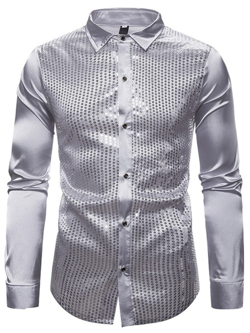 Lapel Plain Sequins Fashion Slim Men's Shirt