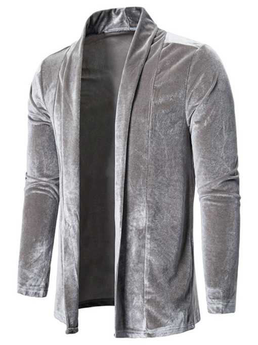 Plain Notched Lapel Thick Men's Jacket