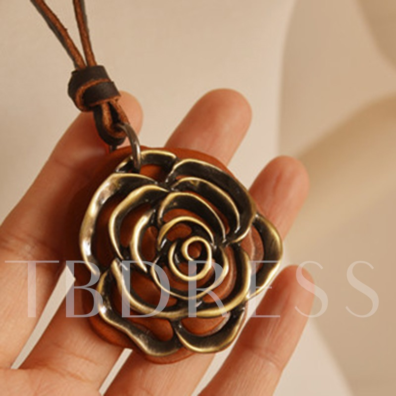 Vintage E-Plating Floral Female Rope Chain Necklaces