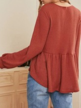 Single-Breasted V-Neck Knitting Women's Sweater