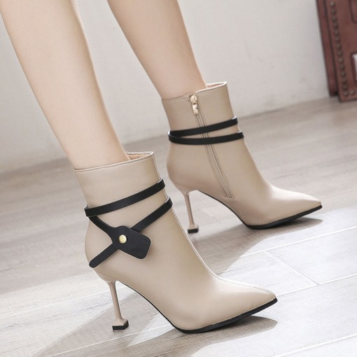 Side Zipper Pointed Toe Zipper Ankle Boots