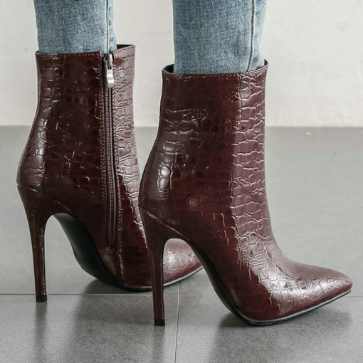 Side Zipper Pointed Toe Plain Casual Ankle Boots