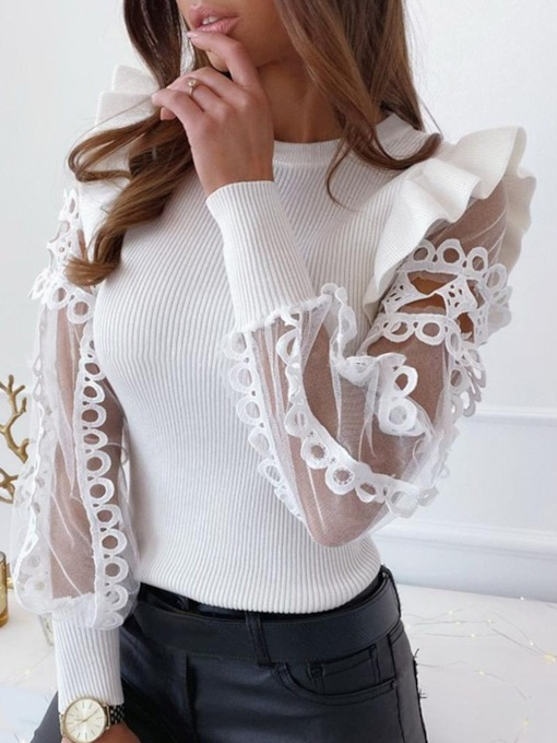 Slim Lace Long Sleeves Women's Sweater