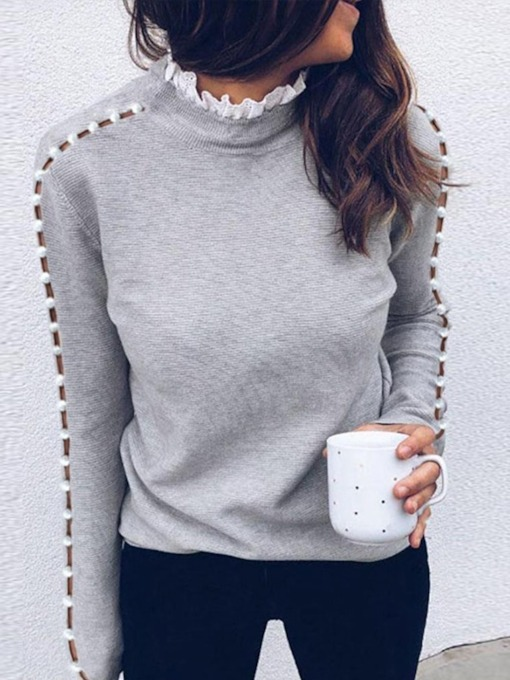 Bead Straight Lace Collar Women's Sweater