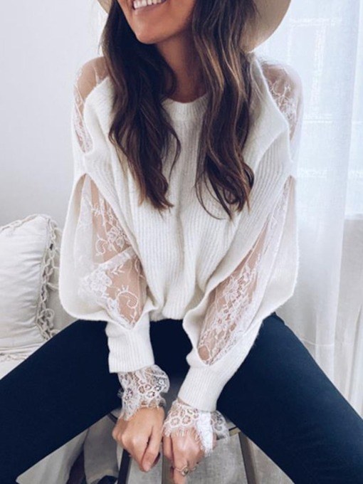 Patchwork Lace Hollow Sleeve Women's Sweater